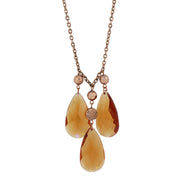 Copper Tone Purple Color Triple Teardrop Necklace 16 Adj