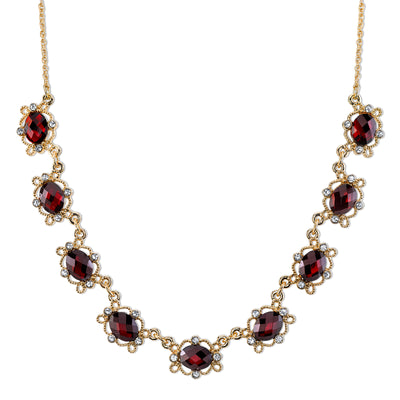 Gold-Tone Red And Clear Crystal Accent Collar Necklace 16 - 19 Inch Adjustable