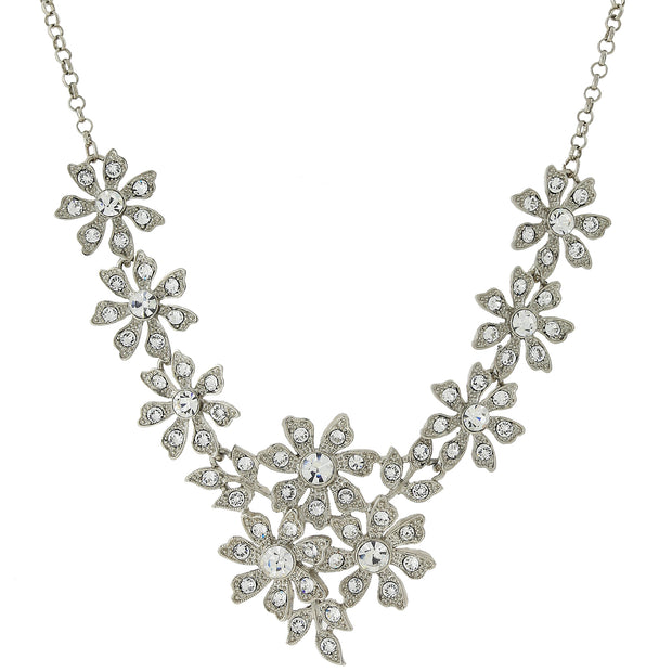 Silver-Tone Crystal Flower Statement Necklace 16 - 19 Inch Adjustable