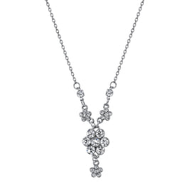 1928 Jewelry: 1928 Jewelry - Silver-Tone Crystal Flower Cluster Necklace