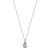 Silver Tone Crystal Pendant Necklace 16   19 Inch Adjustable