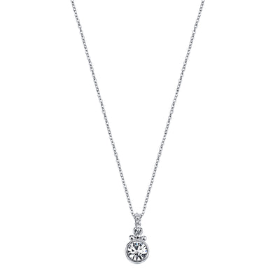 Silver-Tone Crystal Pendant Necklace 16 In Adj