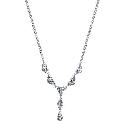 Silver-Tone Crystal Y-Necklace 16 - 19 Inch Adjustable