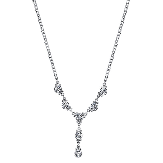 Silver-Tone Crystal Y-Necklace 16 In Adj