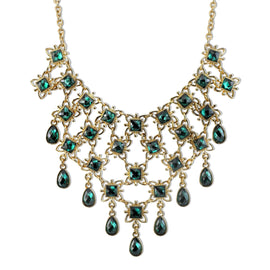 Gold-Tone Emerald Green Color Bib Necklace 15 Adj.