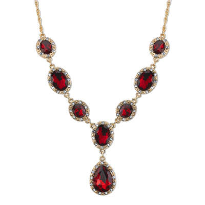 Gold Tone Red With Crystal Accent Teardrop Necklace 16   19 Inch Adjustable