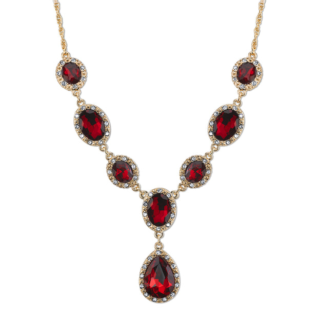 Gold-Tone Red With Crystal Accent Teardrop Necklace 16 - 19 Inch Adjustable