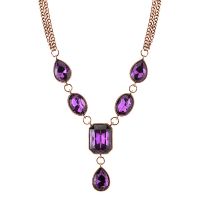 Burnished Copper-Tone Purple Faceted Necklace 16 In Adj