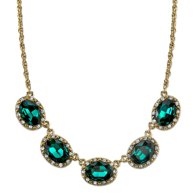 Gold-Tone Green with Crystal Accent Station Bib Necklace 16 In Adj