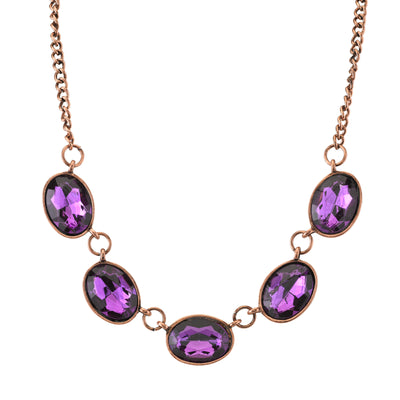 Burnished Copper-Tone Purple Oval Collar Necklace 16 In Adj