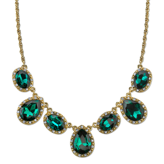Fashion Jewelry - Gold Tone Green with Crystal Accent Teardrop Necklace