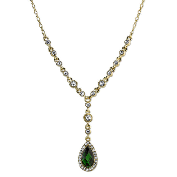 Gold-Tone Emerald Green Color and Crystal Faceted Teardrop Y-Necklace 16 In Adj