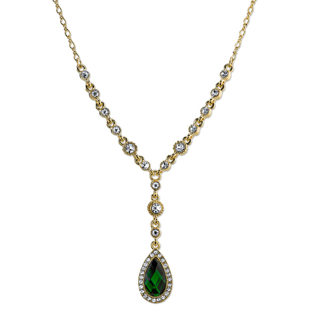 Gold Tone Emerald Green Color And Crystal Faceted Teardrop Y Necklace 16   19 Inch Adjustable