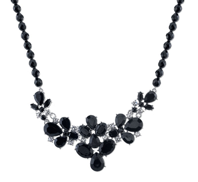 2028 Silver-Tone Black Faceted Bead & Pear Shape Stones With Crystal Accent Bib Necklace 16 - 19 Inch Adjustable