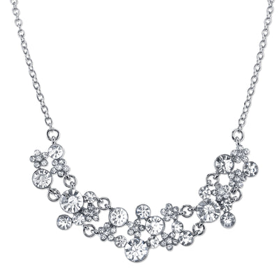 Silver-Tone Clear Crystal Cluster Necklace 16 - 19 Inch Adjustable