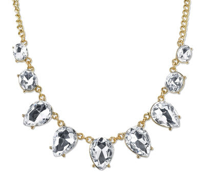 Gold-Tone Clear Crystal Faceted Collar Necklace 16 In Adj