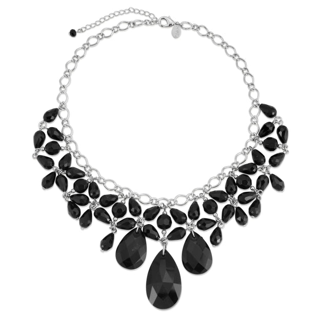 Silver-Tone Black Faceted Statement Bib Necklace 16 - 19 Inch Adjustable