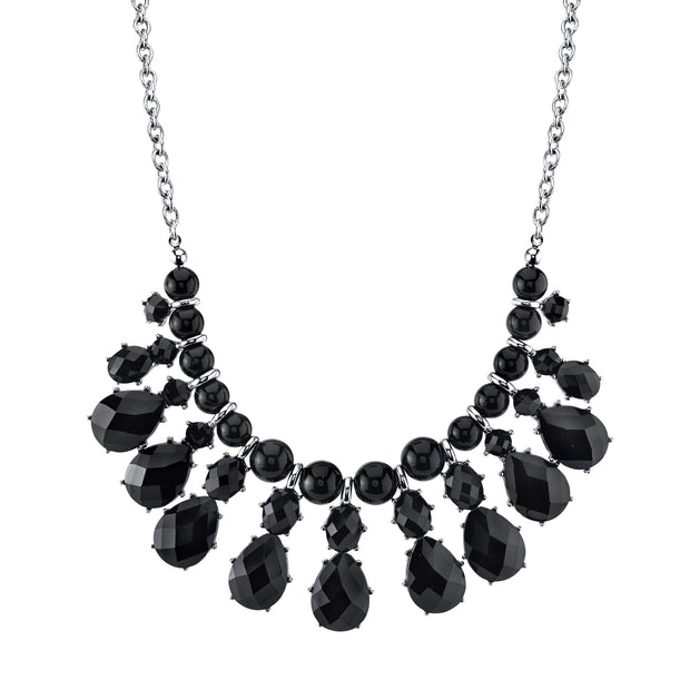 Silver-Tone Jet Black Pearshape Drop Bib Necklace 16 In Adj