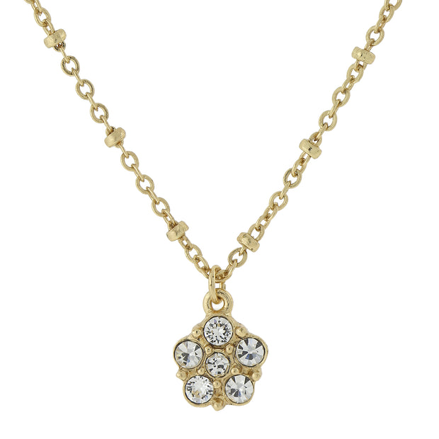 Gold Tone Clear Crystal Petite Flower Pendant Necklace 16   19 Inch Adjustable