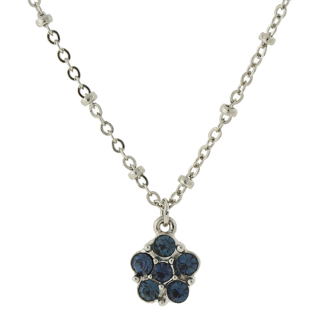 Carded Silver Tone Blue Petite Flower Pendant Necklace 16   19 Inch Adjustable