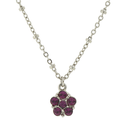 Carded Silver-Tone Purple Petite Flower Pendant Necklace 16 In Adj