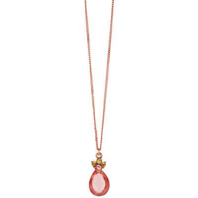 Rose Gold-Tone Pink Crystal Teardrop Pendant Necklace 16 - 19 Inch Adjustable