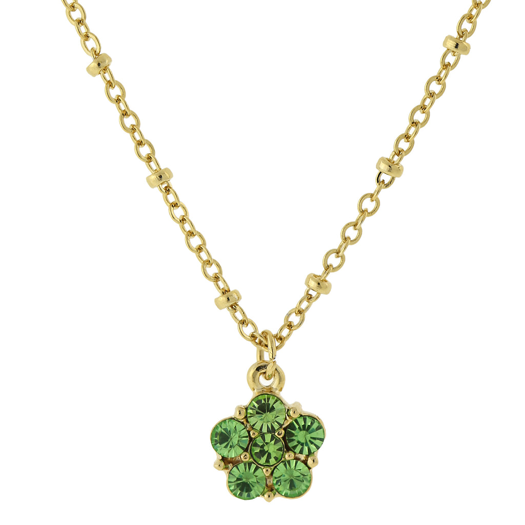 2028 Gold Tone Peridot Color Flower Pendant Necklace