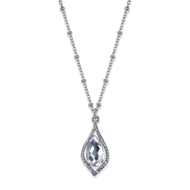 Carded Silver-Tone Clear Crystal Petite Caged Pendant Necklace 16 - 19 Inch Adjustable