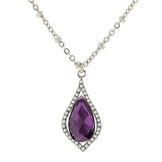 Fashion Jewelry - 2028 Silver Tone Amethyst Color Teardrop Pendant Necklace