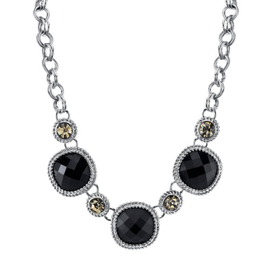 Silver-Tone Black with Black Diamond Color Accent Faceted Necklace 16 In Adj