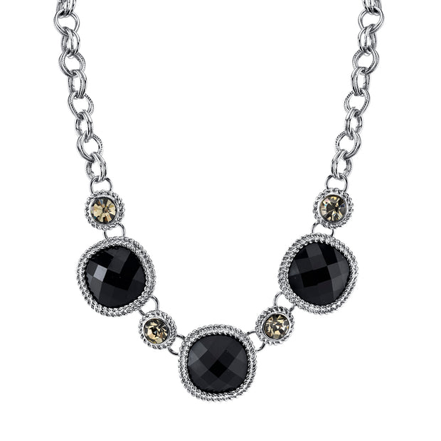 Silver Tone Black With Black Diamond Color Accent Faceted Necklace 16   19 Inch Adjustable