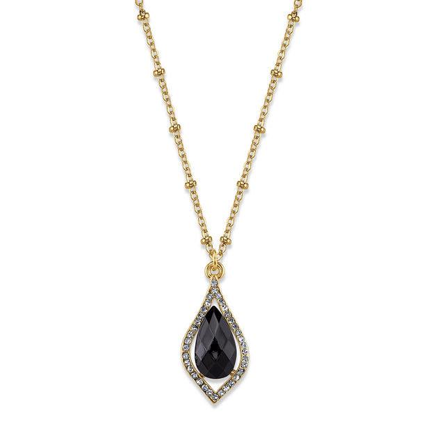 Carded Gold-Tone Black Petite Teardrop Pendant Necklace 16 - 19 Inch Adjustable