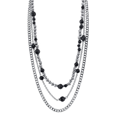 Silver-Tone Jet Black Beaded Triple Layer Chain Necklace 16 In Adj