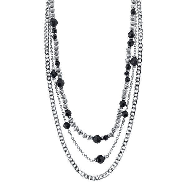 Silver Tone Jet Black Beaded Triple Layer Chain Necklace 16   19 Inch Adjustable