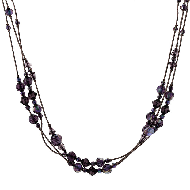 Ab Beaded Strand Necklace 16   19 Inch Adjustable Black