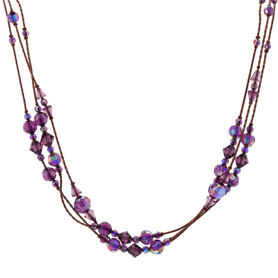 Burnished Copper And Amethyst Purple Ab Beaded Strand Necklace 16 - 19 Inch Adjustable