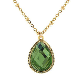 Fashion Jewelry - 2028 Gold-Tone Peridot Color Teardrop Pendant Necklace