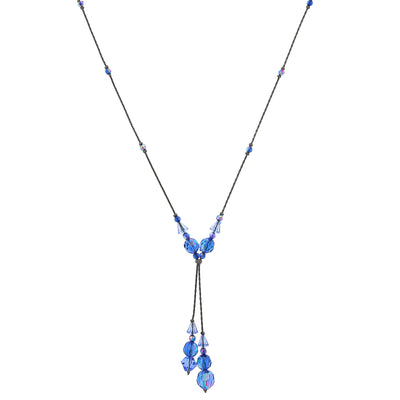 Jet Sapphire Blue AB Beaded Y-Necklace 16 In Adj