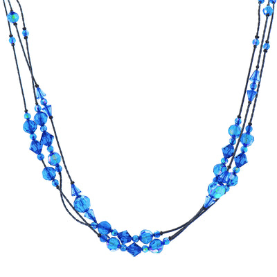 Jet Sapphire Blue AB Beaded Strand Necklace 16 In Adj