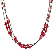 Ab Beaded Strand Necklace 16 - 19 Inch Adjustable RED