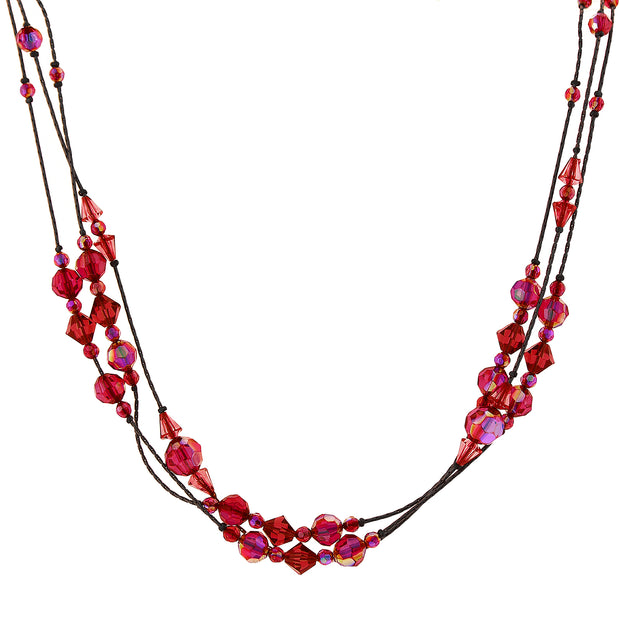 Ab Beaded Strand Necklace 16   19 Inch Adjustable Red