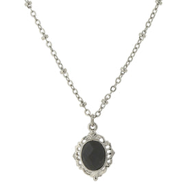 Carded Silver-Tone Black Petite Pendant Necklace 16 In Adj