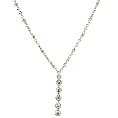 Carded Silver-Tone Clear Crystal Drop Necklace 16 - 19 Inch Adjustable