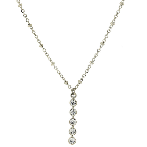 Carded Silver Tone Clear Crystal Drop Necklace 16   19 Inch Adjustable