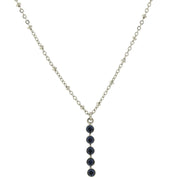 Carded Silver Tone Blue Drop Necklace 16   19 Inch Adjustable