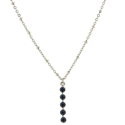 Carded Silver-Tone Blue Drop Necklace 16 - 19 Inch Adjustable
