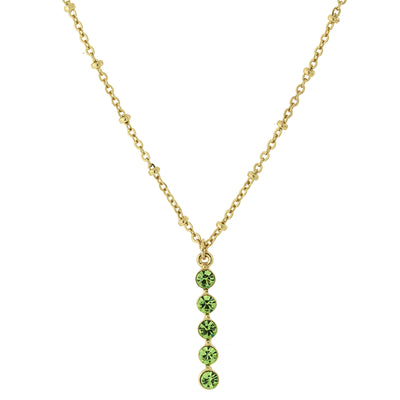 Carded Gold Tone Lt. Green Drop Necklace 16   19 Inch Adjustable