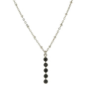 Carded Silver-Tone Black Drop Necklace 16 - 19 Inch Adjustable