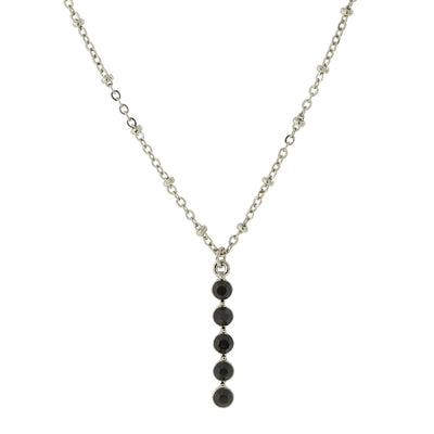Carded Silver Tone Black Drop Necklace 16   19 Inch Adjustable