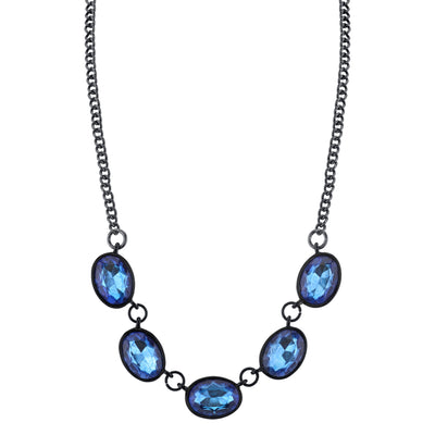 Black-Tone Sapphire Blue Color Oval Collar Necklace 16 In Adj